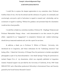Thesis Acknowledgement Writing Help Thesis Sample