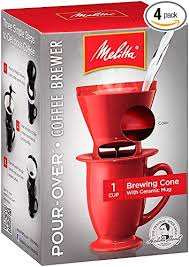 Melitta Coffee Maker Single Cup Pour Over Brewer With Mug Red
