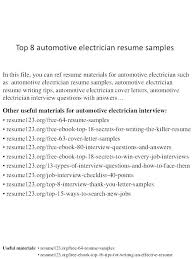 Examples Of Electrician Resumes Resume