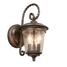 hton bay 3 light rubbed bronze large outdoor wall lantern