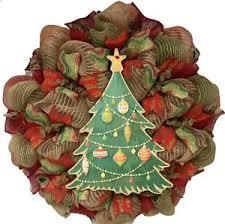 Image Is Loading Burlap Christmas Tree Deco Mesh Handmade Wreath