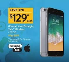 Walmart Black Friday iPhone 6 Straight Talk Wireless for $129 00
