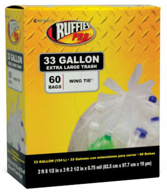 Ruffies Pro Trash Bags - Clear, Large, 60 Bags And Ties