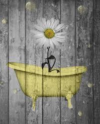 Rustic Yellow Daisy Flowers Bathtub Vintage Bathroom Powder Room Wall Art Status Avail