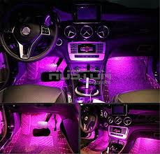 Onepalace 4Pcs Car LED Interior Underdash Lighting Kit Led Light Auto Lights Atmosphere Pink