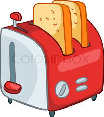 Cartoon Home Kitchen Toaster Isolated On White Background