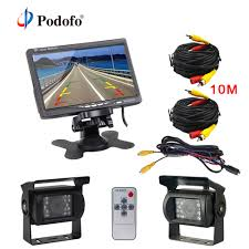 100 Backup Camera For Truck Podofo 7 LCD Dual Car Rear View Monitor Kit For