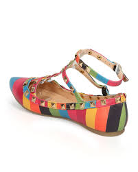 outlet womens girls ballet flat shoes rainbow color studs rivet