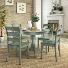 Weston Home Lexington 5 Piece Round Dining Table Set With Ladder Back Chairs