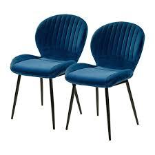 2er set 6002490 blau samt stuhl vierfußstuhl esszimmerstuhl küchenstuhl
