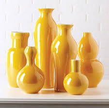 Vases Beautiful Set Of Imperial Yellow Porcelain Flower At InStyle Decor Beverly Hills Hollywood Luxury Home