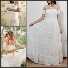 2017 Lace Bohemian Wedding Dresses Strapless Off Shoulder A Line Full Length Vintage Beach Boho Bridal Gowns In From Weddings