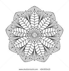 Magic Lotus Flower Coloring Book Page For Adults And Children Drawing
