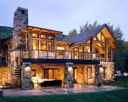 Walkout Basement House Plans For A Rustic Exterior With Stacked Stone And Aspen Projects