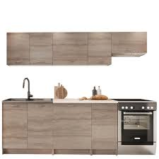 mirjan24 küche mela 240 küchenzeile mit arbeitsplatte 7 schrank module kombinierbar küche set küchenmöbel trüffel beige
