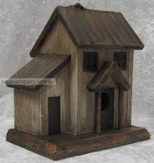 Hanging Timber Bird House Cottage Design Rustic Aged Look Garden Decoration 4908