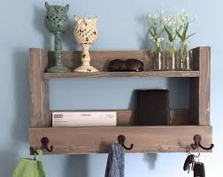 Furniture Entryway Shelf With Hooks Best Rustic Key Holder Mail Organizer Weathered Image Of