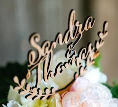 Personalized Cake Topper Wedding Wooden Rustic Names Custom