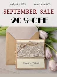 SALE Rustic Wedding Invitation Lace Invites Pocket Fold Invitations Twine
