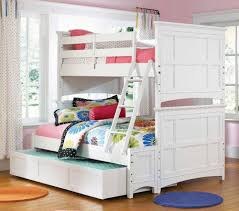 Charming Loft Beds For Teenagers In White With Stair And Drawer On Wooden Floor Matched