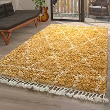 orient teppich gelb wohnzimmer hochflor rauten muster orient