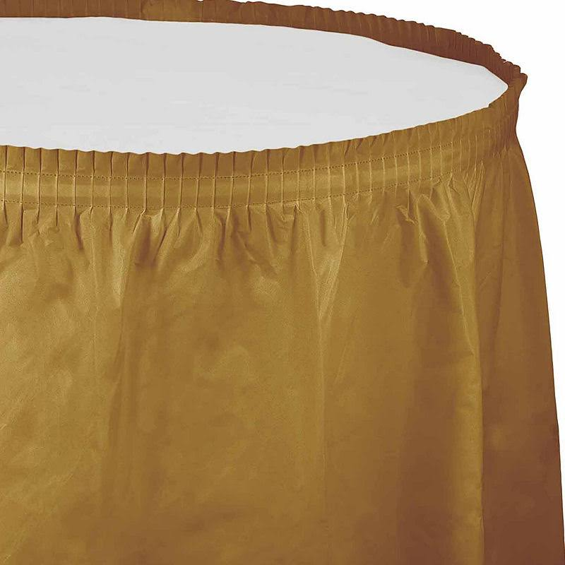 Creative Converting Plastic Table Skirt - 14', Glittering Gold