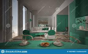 einzimmerwohnung weiß und türkisfarben eingerichtet