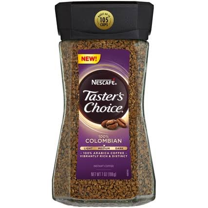 Tasters Choice Coffee, Instant, 100% Colombian, Medium - 7 oz