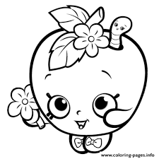 Print Shopkins Apple Smile Cute Girls Coloring Pages Free Printable Intended For Girl