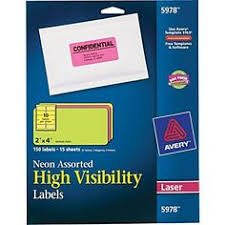 AveryR 2 X 4 Laser Shipping Labels Assorted Neon Colors