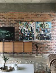 designer sideboard an ziegelwand bild kaufen 11376775