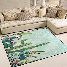 ABLINK Non Slip Area Rugs Home Decor Vintage Tropical Cute Succulents Cactus Durable Floor