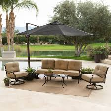 Square Patio Umbrella With Netting by Black Offset Outdoor Patio Umbrellas With Auto Crank Above Beige