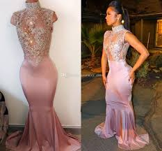 mermaid prom dresses high neck sleeveless illusion crystal