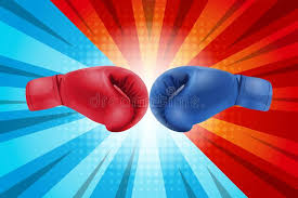 Download Fighting For Comic Background Boxing Gloves Red And Blue Hitting Together On