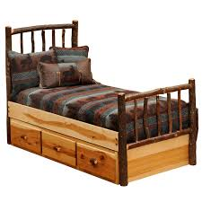 Rustic Beds Twin Size Hickory Traditional Log Bed With Underbed 3 Drawer Dresser