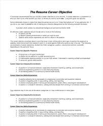 Career Objectives Example Resume Sample Objective Examples In Word Goals For Goal Ideas