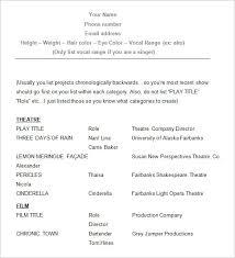 Sample Acting Resume Details File Format