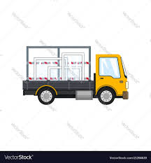 100 Glass Truck Yellow Truck With Glass On White Background Vector Image
