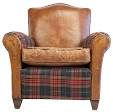 small scale club chair in leather and tartan plaid for sale at 1stdibs