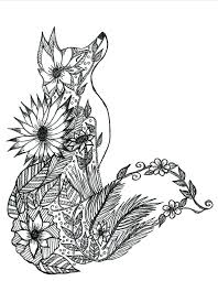Full Image For Animal Mandala Coloring Pages Adults Fox Adult Page More