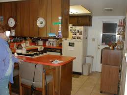 1970s Kitchen Dark Cabinets Orange Counter Tops Bad MLS Photos Ugly Home House