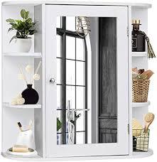 dreamade spiegelschrank bad badezimmerschrank wandschrank mit spiegel hängeschrank badschrank spiegel mit ablagefläche aus holz weiß
