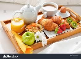 Breakfast Tray Bed Hotel Room Stock Shutterstock