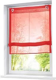 eslir raffrollo ohne bohren raffgardinen mit u haken ösenrollo voile gardinen transparent vorhänge modern 1 stück rot bxh 45x130cm 1 stück