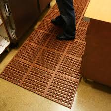 A Rubber Kitchen Floor Mat Prevents Slips On Wayward Water And Grease