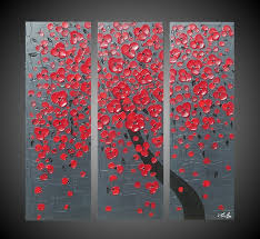3 Panel Abstract Acrylic Painting Canvas Cherry Tree Red Blossom Grey Black Textured 3D Wall Art