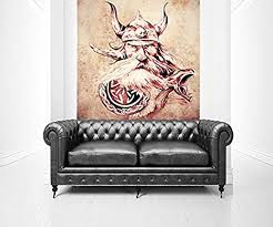 bilderdepot24 fototapete selbstklebend wikinger vintage 150x150 cm moderne wand deko dekoration wohnung wohnzimmer wandtapete