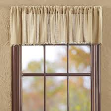 VHC Brands Primitive Farmhouse Kitchen Window Curtains Tobacco Cloth Tan Fringed