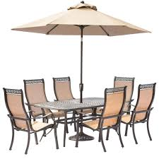 7 Piece Patio Dining Set With Umbrella by Hampton Bay Cavasso 7 Piece Metal Outdoor Dining Set With Oatmeal